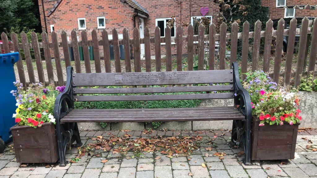 Wooden bench on Main Street